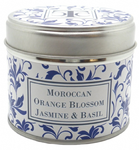 Moroccan Orange Blossom Jasmine &  Basil Scented Candle Tin 35 hour